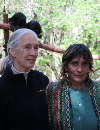 Maria Alejandra Juarez with Jane Goodall at the monkey sanctuary